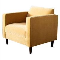 club chair upholstered honey yellow velvet high arms