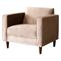 club chair upholstered light brown cobblestone velvet high arms