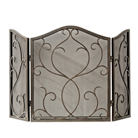 fireplace screen bronze mesh iron three panel scroll arched