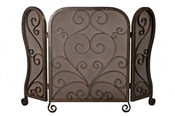 Dessau Home fireplace screen mesh 3-panel sections bronze scrolls curled feet round tops