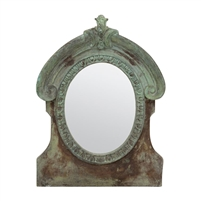 green brown weathered cement mirror