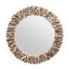 natural oyster shell wall mirror organic round