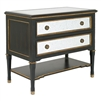 nightstand two drawer black white gold accents