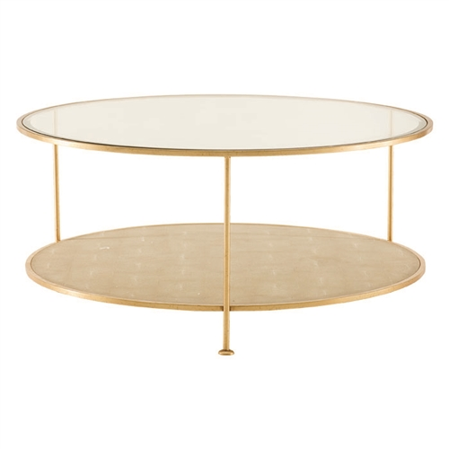 gold shagreen cocktail table round