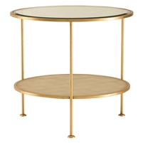 gold beveled glass end table shagreen contemporary