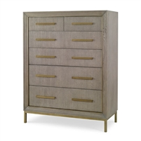 chest gray oak six drawer gold hardware
