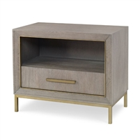 nightstand single drawer gray oak metal trim contemporary