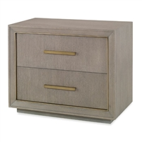 nightstand two drawer gray oak metal trim contemporary