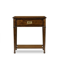nightstand brown wood gold hardware