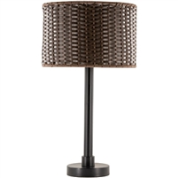 outdoor table lamp with brown woven shade