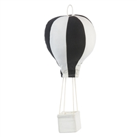 black white hot air balloon black stripe design w/ basket