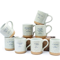 mug speckled blue gold names set