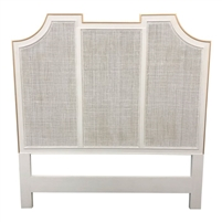 queen headboard shell white gold accents cane pattern