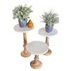 Set of 3 Wooden Display Stands w/ Marble Tops by Kalalou