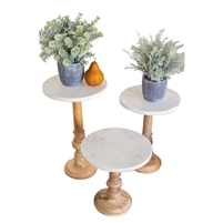 Designer Wooden Display Stand Set (3) W/ Marble Tops by Kalalou