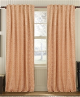curtain panel drapery orange white diamond pattern lined
