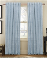curtain panel drapery denim blue white diamond pattern lined