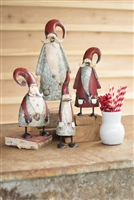 Luxury designer galvanized metal painted Santa's red white large small set of 4 rustic by Kalalou