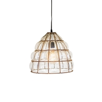 pendant light rustic gold finished cage glass