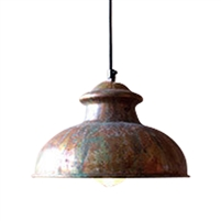 pendant one light black cord metal rust patina shade