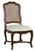 dining chair cane back cream fabric seat