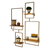 iron wood wall unit four shelves