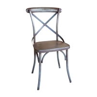 iron cross back dining chair rustic industrial Parisienne