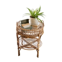 two-tier round cane side table removable tray lower shelf
