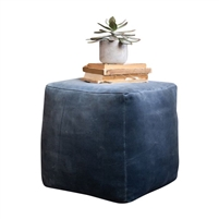 steel medium blue velvet pouf