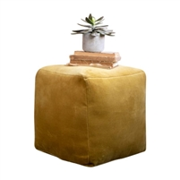 honey gold velvet pouf