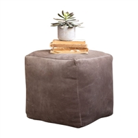 cobblestone brown velvet pouf