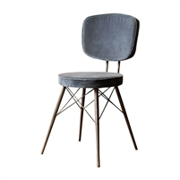 steel blue velvet dining chair splayed iron legs padded back seat