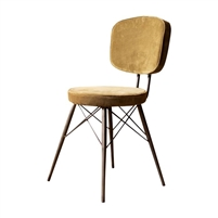 avocado green velvet dining chair splayed iron legs padded back seat
