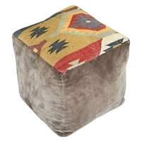 brown velvet kilim pouf square