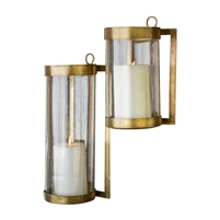 glass round antique brass finish wall mounted hurricane candle sconce lantern