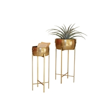 set 2 round brass finished planters stands Moroccan Boho