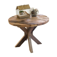 round thick plank recycled wood dining table