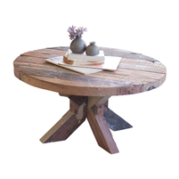 round thick plank recycled wood coffee table