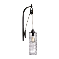 metal cage shade wall-mounted light fixture one bulb pulley industrial