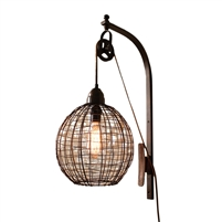 Kalalou wall sconce light fixture metal cage sphere wire pulley rustic orb