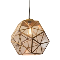 glass faceted antiqued gold pendant light