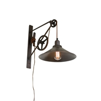 rustic pulley system wall sconce