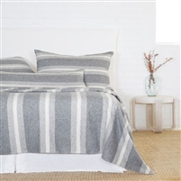 light dark gray ivory stripe blanket big pillows combed cotton