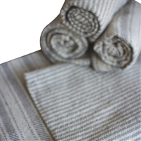 set 6 grey striped cotton napkins