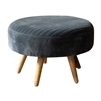 steel blue ottoman channel stitching splayed legs mid-century