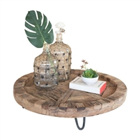 recycled wood round tray iron feet legs