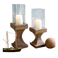 square hurricane candle holders recycled wood set