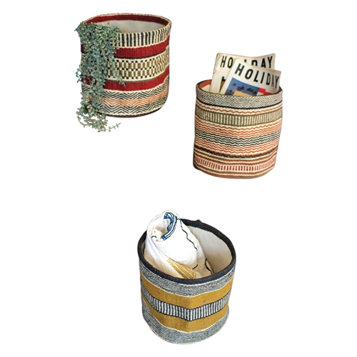set 3 colorful striped woven jute baskets