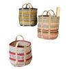 set 3 colorful striped woven jute baskets handles