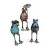 colorful recycled metal frogs three